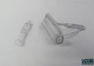ゆうてつ-銅版画ローラーと絵具