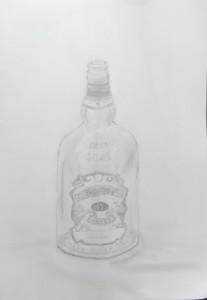 つぼみ-ラベルが複雑なビン