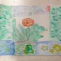 個性が出ました!秋のお花の水彩画