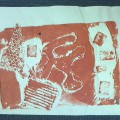 コラグラフ版画の刷り&お菓子の家