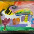 素敵な蜂のいる水彩画!!