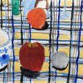 組みモチーフの着彩、基本形の石膏